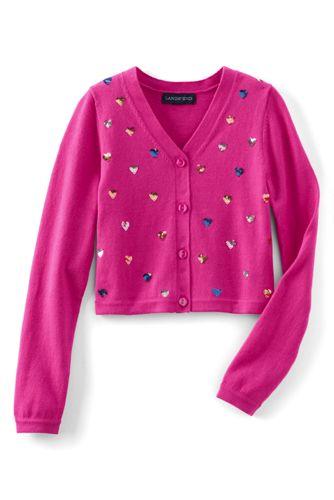 Feinstrick-Cardigan mit Schimmer-Pailletten für kleine Mädchen