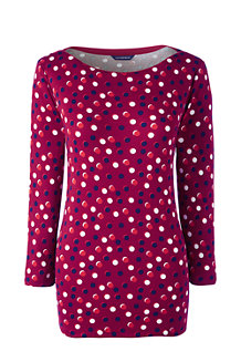Women's Rib Boatneck Print Top