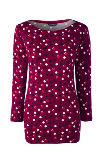 Women's Regular Rib Boatneck Print Top