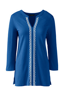 Langes Baumwoll/Viskose-Shirt mit Bordüre