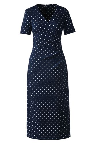 Women's Regular Print Ponte Jersey Tucked Wrap Dress