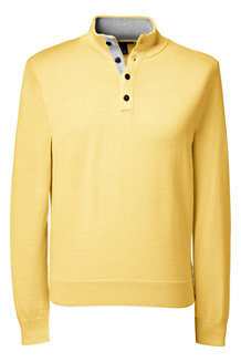 Men's Fine Gauge Button-neck Sweater