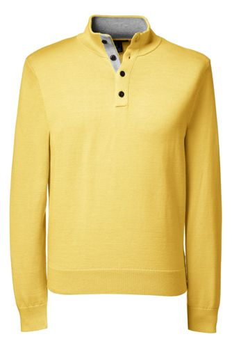 Men's Regular Fine Gauge Button-neck Sweater