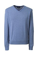 Supima Cotton Jacquard V-neck Sweater 467904: Blue Night Heather Pattern 467904