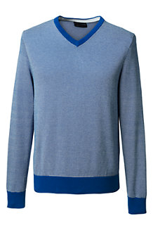 Men's Patterned Fine Gauge V-neck Jumper