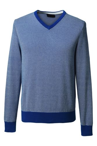 Men's Regular Patterned Fine Gauge V-neck Sweater