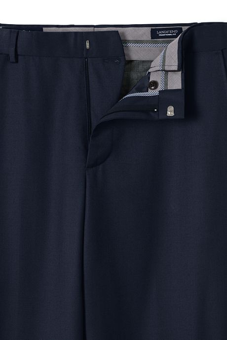 Men's Comfort Waist Wool Gabardine  Dress Trousers