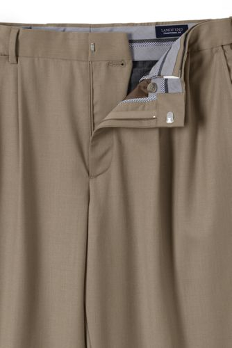 Men's Comfort Waist Pleated Wool Gabardine Dress Pants