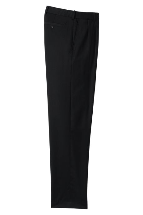 Men's Comfort Waist Pleat Wool Gabardine Trousers