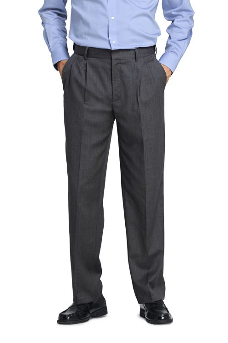 Men's Comfort Waist Pleated Wool Gabardine Dress Pants