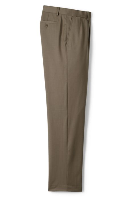 Men's Traditional Fit Pleated Front Wool Gabardine Trousers