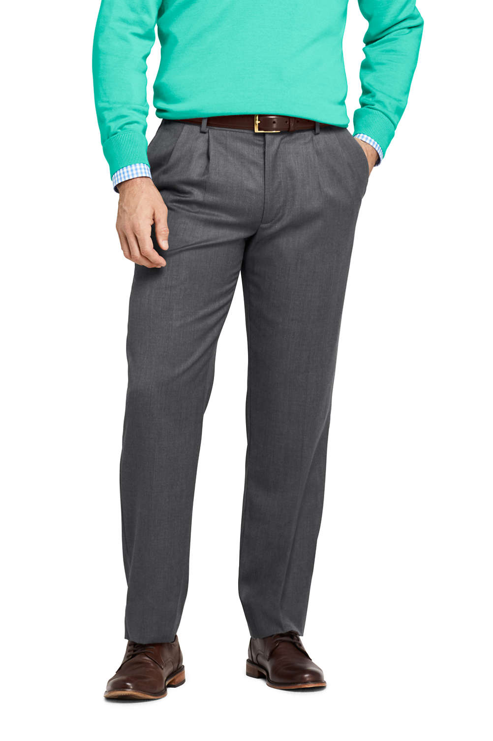 Men S Traditional Fit Pleat Wool Gabardine Trousers From Lands End