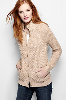 Women's Marled Cable Polo Neck Cardigan
