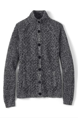 Women's Regular Marled Cable Polo Neck Cardigan