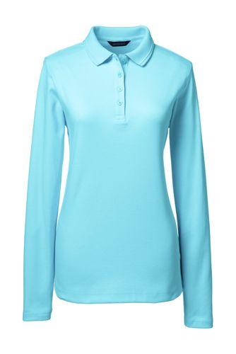 Pima-Poloshirt mit Kragendetail, Langarm