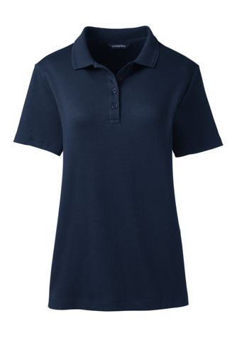 Women's Petite Detailed Collar Pima Polo Shirt