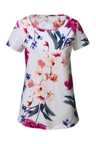 Le T-Shirt Col Danseuse à Motifs Fleuris, Femme Stature Standard