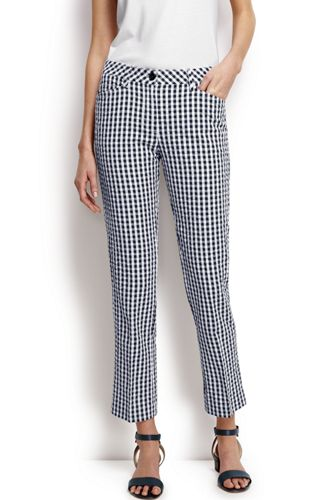 Women's Regular Seersucker Gingham Crops