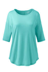 Women's Supima Micro Modal Elbow Sleeve Balletneck Curved Hem Top