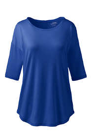 Women's Plus Size Supima Micro Modal Elbow Sleeve Balletneck Curved Hem Top