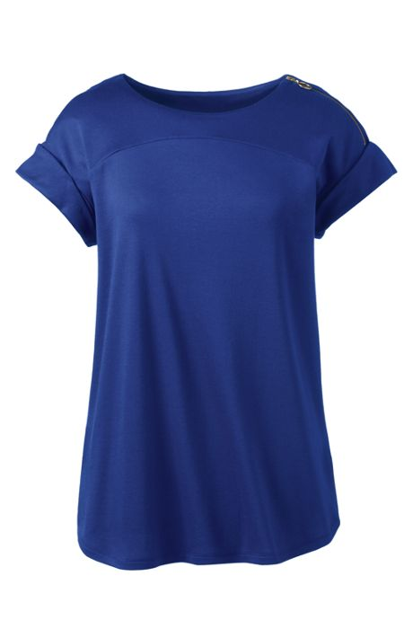 Women's Supima Micro Modal Roll Sleeve Zip Shoulder Top