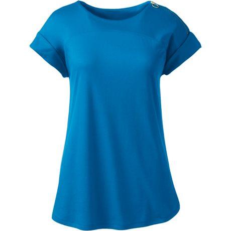 Women's Supima Micro Modal Roll Sleeve Zip Shoulder Top