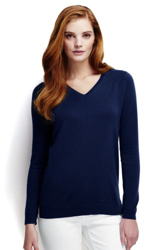 Women's Regular Fine Gauge Supima® Shirred V-neck