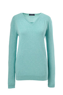 Women's Fine Gauge Supima® Shirred V-neck