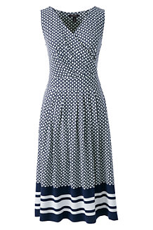 Jerseykleid in Wickel-Optik mit Musterbordüre