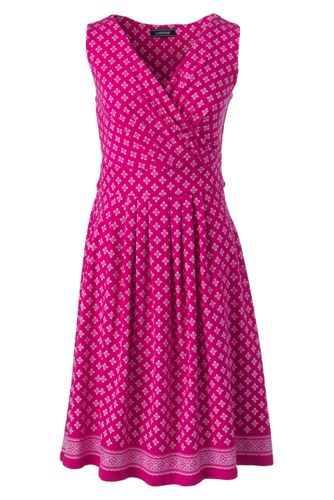 Women's Regular Engineered Print Jersey Sleeveless Crossover Dress