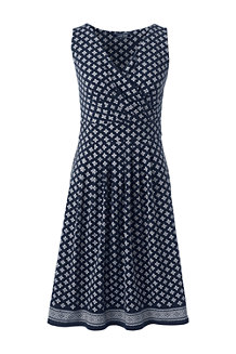 Women's Engineered Print Jersey Sleeveless Crossover Dress