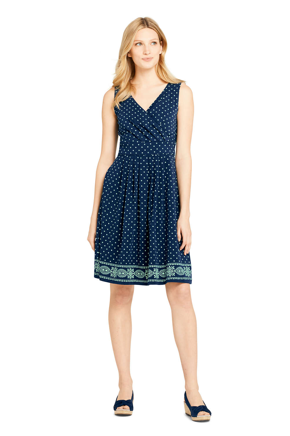 1dce94e67c732 Women s Banded Waist Fit and Flare Dress Knee Length from Lands  End
