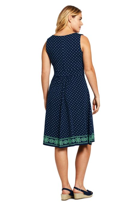 Women's Plus Size Banded Waist Knee Length Fit and Flare Dress