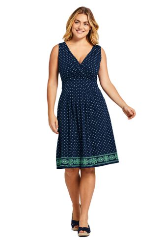 0c18cac9d9a Women s Plus Size Banded Waist Fit and Flare Dress Knee Length