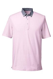Men's Woven Collar Piqué Polo