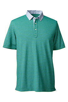 Men's Woven Collar Striped Piqué Polo
