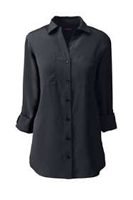 School Uniform Women's Plus Size Rolled Sleeve Soft Blouse