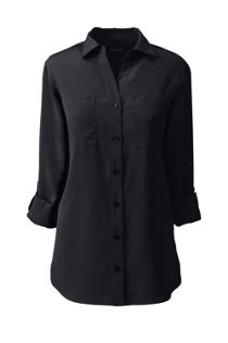 Women's Rolled Sleeve Soft Blouse