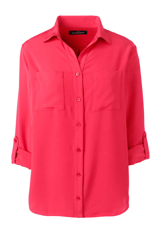 Women's Petite Rolled Sleeve Soft Blouse, Front