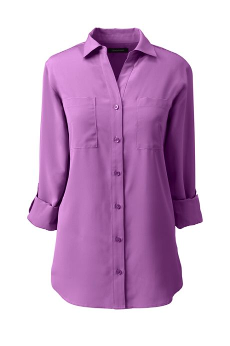 Women's Petite Rolled Sleeve Soft Blouse