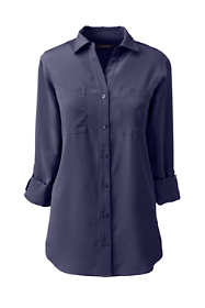 School Uniform Women's Petite Rolled Sleeve Soft Blouse