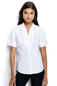 Women's Plus Size Short Sleeve French Cuff Tuxedo Stretch Shirt