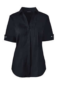 Women's Plus Size Short Sleeve French Cuff Tuxedo Stretch Shirt