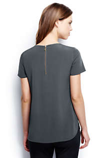Women's Petite Short Sleeve Keyhole Soft Blouse, Back