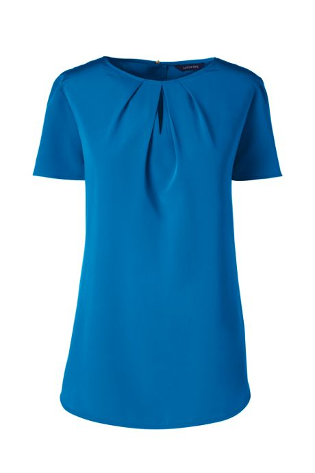 Women's Petite Short Sleeve Keyhole Blouse Top