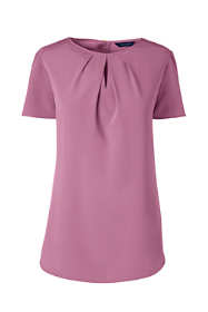 Women's Petite Short Sleeve Keyhole Soft Blouse