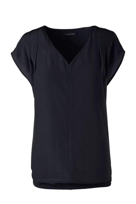 Women's Short Sleeve Textured Dot Pintuck Soft Blouse