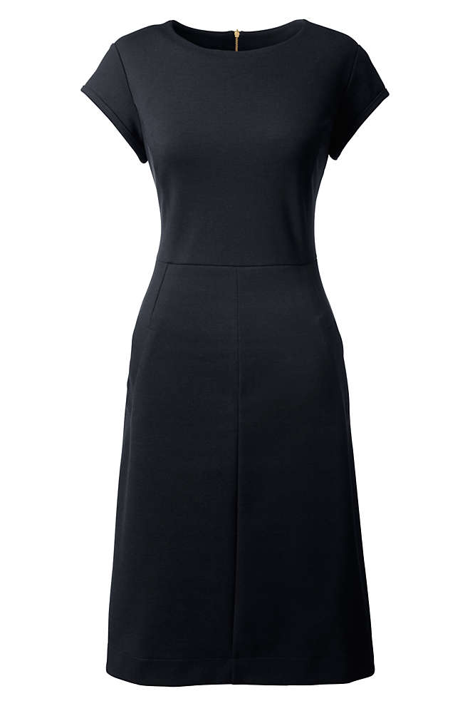 Women's Petite Short Sleeve Ponte Sheath Dress, Front