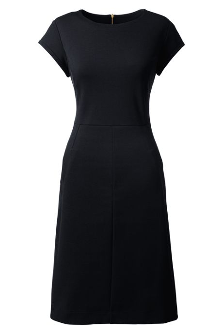 Women's Petite Short Sleeve Ponte Sheath Dress