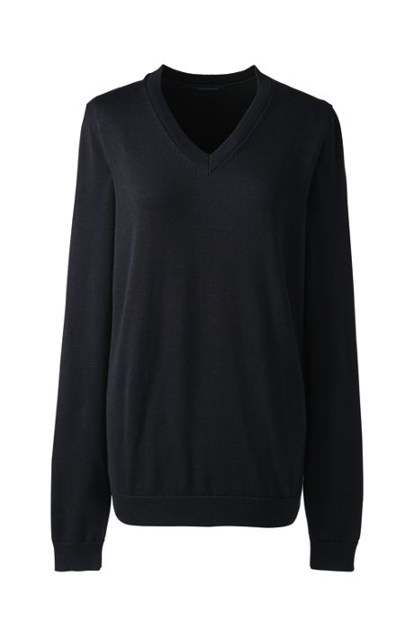 Women's Basic Cotton V-neck Sweater